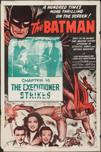 """The Batman (Columbia, R-1954). Folded, Fine-. One Sheet (27"""" X 41"""") Chapter 14 -- """"The Executioner Strike..."""