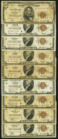 Fr. 1850-J $5 1929 Federal Reserve Bank Note. Very Good; Fr. 1860-A; E; F (2); G; H; J (2) $10 1929 Federal Reserve Bank...