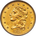 1839-O $2 1/2 High Date, Wide Fraction, HM-1, R.3, AU58 PCGS. Only slightly more plentiful than the Close Fraction varie...