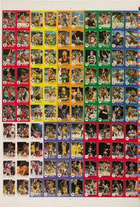 1984-85 Star Co. Basketball Uncut Sheet with Both Michael Jordan Cards (100 Cards Total)