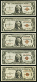 Small Size:World War II Emergency Notes, Fr. 2300 $1 1935A Hawaii Silver Certificates. Five Examples. Very Fine to About Uncirculated.. ... (Total: 5 notes)