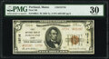 National Bank Notes:Maine, Portland, ME - $5 1929 Ty. 2 First National Bank Ch. # 13716 PMG Very Fine 30.. ...