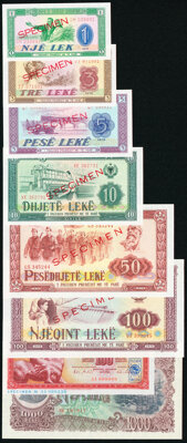 Albania and Yugoslavia Group Lot of 8 Examples Crisp Uncirculated. ... (Total: 8 notes)
