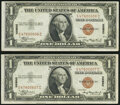 Small Size:World War II Emergency Notes, Fr. 2300 $1 1935A Hawaii Silver Certificates. Two Consecutive Examples. About Uncirculated.. ... (Total: 2 notes)