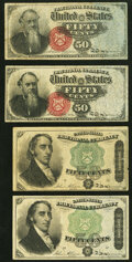 Fractional Currency:Fourth Issue, Fr. 1376 50¢ Fourth Issue Stanton Two Examples Very Fine;. Fr. 1379 50¢ Fourth Issue Dexter Two Examples Very Fine.. ... (Total: 4 notes)