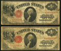 Large Size:Legal Tender Notes, Fr. 39 $1 1917 Legal Tender Two Examples Good-Very Good or...