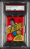 Basketball Cards:Unopened Packs/Display Boxes, 1974 Topps Basketball Unopened Wax Pack PSA NM 7 - Walton & Gervin Rookie Year! ...