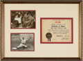 """Baseball Collectibles:Others, 1940 Babe Ruth Signed """"Academy of Sport"""" Certificate...."""