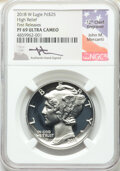 2018-W $25 Palladium, High Relief, First Releases, Mercanti Signature, PR69 Ultra Cameo NGC. NGC Census: (0/0). PCGS Pop...