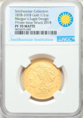 1878-2018 Morgan's Eagle Design, Half Ounce Gold, PR70 Matte NGC. Private issue struck 2018. Smithsonian Collection