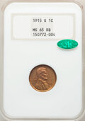 1915-S 1C MS65 Red and Brown NGC. CAC. NGC Census: (33/2). PCGS Population: (37/1). CDN: $1,200 Whsle. Bid for NGC/PCGS...