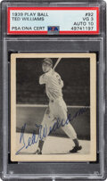 Baseball Cards:Singles (1930-1939), Signed 1939 Play Ball Ted Williams #92 PSA VG 3, Auto 10....