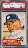 Baseball Cards:Singles (1950-1959), Signed 1953 Topps Mickey Mantle #82 PSA/DNA NM/MT 8 Auto....