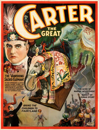 """Carter the Great (c.1927). Very Fine- on Linen. Eight Sheet (80"""" X 107"""") """"The Vanishing Sacred Elephant.&..."""
