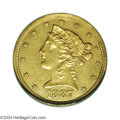 Proof Liberty Half Eagles: , 1887 $5 Proof, Improperly Cleaned, NCS. An exceedingly ...