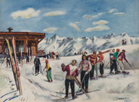 Millard Sheets (American, 1907-1989) Sun Deck at Top of Aspen Ski Slope, 1950 Watercolor on paper