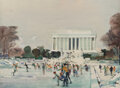 Paintings, Millard Sheets (American, 1907-1989). Winter - Lincoln Memorial, Washington, D.C., 1966. Watercolor on paper. 22 x 30 in...