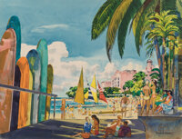 Millard Sheets (American, 1907-1989) Waikiki, 1965 Watercolor on paper on board 17 x 22 inches (4