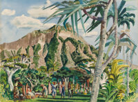 Millard Sheets (American, 1907-1989) Diamond Head - Kapiolani Park, 1950 Watercolor on paper 22 x