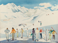 Millard Sheets (American, 1907-1989) Skiing at Sun Valley, Idaho, 1951 Watercolor on paper 22 x 3