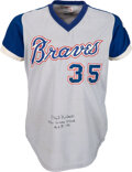 Baseball Collectibles:Uniforms, 1976 Phil Niekro Game Worn, Signed & Inscribed Atlanta Braves Jersey....