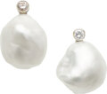 Estate Jewelry:Earrings, South Sea Cultured Pearl, Diamond, White Gold Earrings, Mikimoto, French. ...