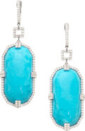 Estate Jewelry:Earrings, Turquoise, Diamond, White Gold Earrings, M. Christoff