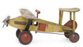 Antiques:Toys, Lot of Three Keystone Sit-n-Ride Toys; Air Mail Plane, Railroad Engine & Wrecking Car.... (Total: 3 Items)