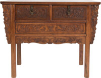 A Chinese Huanghuali Coffer with Double Drawers 35 x 44 x 19-3/4 inches (88.9 x 111.8 x 50.2 cm)