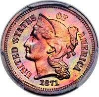 1871 3C Three Cent Nickel, Judd-1045, Pollock-1179, High R.7, PR66+ Red and Brown PCGS. CAC....(PCGS# 71304)