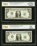 Five $1 Federal Reserve Star Notes. PCGS Banknote Graded. Fr. 1901-B*; G* 1963A Choice Unc 64 PPQ; Fr. 1901-G* 1963A...
