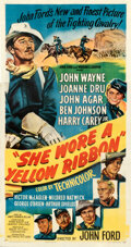 """Movie Posters:Western, She Wore a Yellow Ribbon (RKO, 1949). Fine+ on Linen. Three Sheet (41.75"""" X 79.75"""").. ..."""