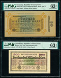 Germany Republic Treasury Note 50; 200 Milliarden Mark 1923 Pick 119d; 121a Two Examples PMG Choice Uncirculated 63 EPQ...