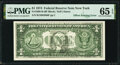 Full Face to Back Offset Error Fr. 1908-B $1 1974 Federal Reserve Note. PMG Gem Uncirculated 65 EPQ