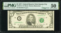 Error Notes:Miscellaneous Errors, Cutting Error Fr. 1974-J* $5 1977 Federal Reserve Star Note. PMG About Uncirculated 50.. ...
