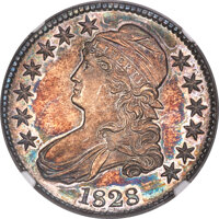 1828 50C Square Base 2, Small 8s, Large Letters, O-118, R.3, MS66 NGC....(PCGS# 39773)