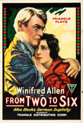 """Movie Posters:Drama, From Two to Six (Triangle, 1918). Folded, Fine/Very Fine. One Sheet (27.5"""" X 41""""). Drama.. ..."""