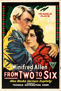 """From Two to Six (Triangle, 1918). Folded, Fine/Very Fine. One Sheet (27.5"""" X 41""""). Drama"""