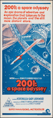 """2001: A Space Odyssey (MGM, 1968). Folded, Fine/Very Fine. Australian Daybill (13.25"""" X 30"""") Red Title Style..."""