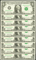 Seven in a Row Fr. 1921-B $1 1995 Federal Reserve Notes. Nine Examples Choice Crisp Uncirculated. 44444440-4444444... (T...