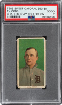 1909-11 T206 Sweet Caporal 350/30 Ty Cobb (Portrait-Green) PSA Good 2 - Charles Bray Collection