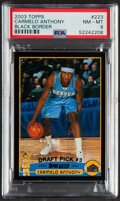 Basketball Cards:Singles (1980-Now), 2003 Topps Black Border Carmelo Anthony #223 PSA NM-MT 8 - Serial Numbered 330/500....
