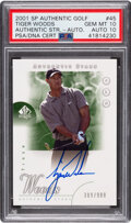 Basketball Cards:Singles (Pre-1970), 2001 SP Authentic Golf Tiger Woods (Authentic Stars-Autograph) #45 PSA Gem Mint 10, Auto 10 - #'d 309/900. ...
