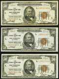 Fr. 1880-L $50 1929 Federal Reserve Bank Notes. Three Examples. Very Fine or Better
