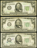 Fr. 2102-B $50 1934 Federal Reserve Note. Very Fine; Fr. 2104-L $50 1934B Federal Reserve Note. Fine-Very Fine; Fr...