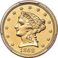 1852-C $2 1/2 -- Cleaned -- PCGS Genuine. Unc Details. Variety 1....(PCGS# 7764)
