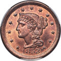 Large Cents, 1853 1C N-25, R.1, MS66 Red and Brown PCGS. CAC....