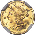 California Fractional Gold , 1853 50C Liberty Round G50C Cents, BG-420, Low R.7, MS64 NGC....