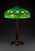 Glass, Rare Tiffany Studios Leaded Glass and Patinated Bronze