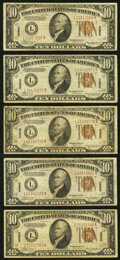 Small Size:World War II Emergency Notes, Fr. 2303 $10 1934A Hawaii Federal Reserve Notes. Five Examples. Fine or Better.. ... (Total: 5 notes)